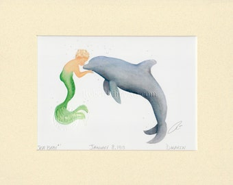 "Boy Merman Child with Dolphin Art by Robert Kline Matted 8"" x 10"" Print Baby Shower Maternity Gift Nautical Home Beach House Nursery Decor"