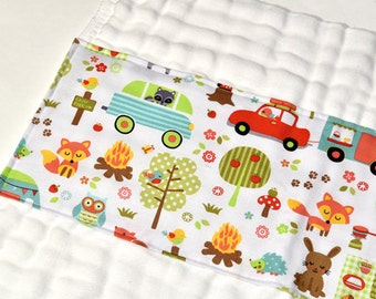 Boy Burp Cloth Baby Gift Idea, Burp Rag, Cloth Diaper Colorful Animals Infant Burpcloth Gender Neutral New Baby