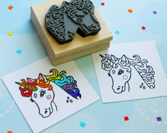 Unicorn Rubber Stamp - Pretty Unicorn Colouring In Rubber Stamp  - Stocking Stuffer - Unicorn Gift - Gift for Unicorn Lover - Horse Stamper