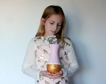 pale pink and metallic gold vase / bud vase / pinkHome Decor / pink home decor / pink and gold