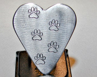 Paw Print Guitar Pick Handmade from Aluminum in Heart Shape  - GP878