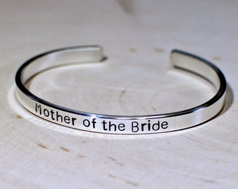 Sterling Silver Mother of the Bride Cuff Bracelet in Solid 925 Ready for Personalization and Custom Stamping  - BR271