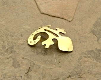 Lizard Guitar Pick Stand in Brass - Custom Pick Stands and Holder Collection - PS402