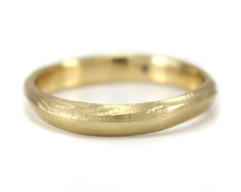 Gold Wedding Ring Wave Ring Wave Wedding Band Eco friendly
