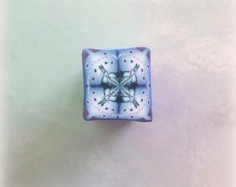 Polymer Clay Kaleidoscope Cane Periwinkle, Blue, Purple, White No. 2317
