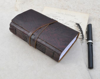 Small Leather Journal with Rustic Merlot Leather