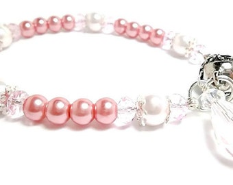 Pearl Bracelet/Bridal Jewelry/Vintage Rose and Baby Pink/Crystals/Bridesmaid Bracelet
