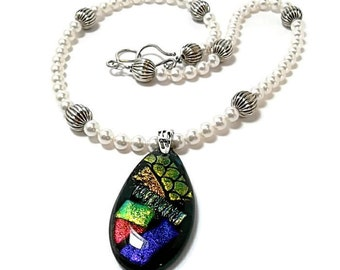 Dichroic Glass Pendant/Fused Glass Necklace/Swarovski Pearl Necklace
