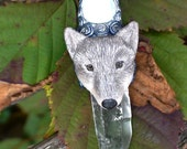 Blue Moon Wolf Polymer Clay Quartz Crystal Mother of Pearl Necklace Animal Totem Jewelry