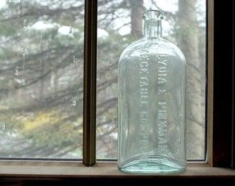 Antique Aqua Glass Medicine Bottle - Lydia Pinkham Vegetable Compound Bottle - Large Old Glass Bottle