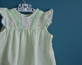 Vintage Girl's Pale Green Dress with White Polka Dots - Size 2T