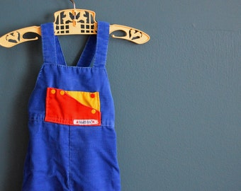 Vintage 1980s Blue Corduroy Overalls by Health-tex - Size 9 Months
