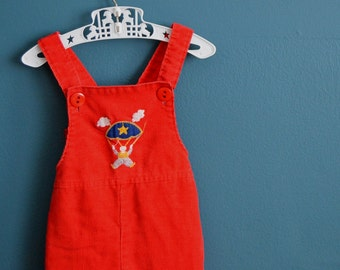 Vintage Red Corduroy Overalls with Parachuter Applique - Size 18 Months