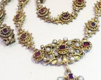Valentines Lovers SALE Stunning Renaissance Art Nouveau Austro Hungarian Sterling Silver Garnet Seed Pearl  Vintage Antique Necklace