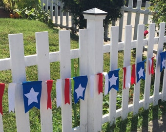 4th of July/ Patriotic  Banner-dovetail with ribbons-red white and blue-sold by the foot