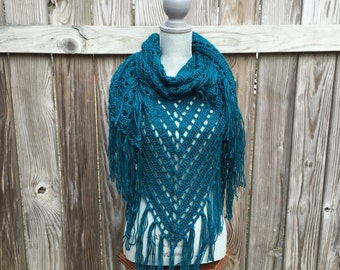 Shawl, Triangle Scarf in Dark Teal, Hand Crocheted