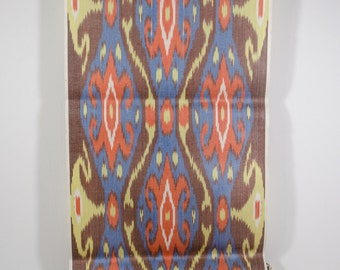 brown orange blue yellow ikat fabric by the yards, brown orange blue, table runner, upholstery fabric, brown orange blue, fabric by the yard