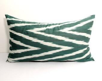"""21x12""""  green white ikat pillow cover, lumbar ikat, green ikats, zig zag, chevron pillows, green chevron, cushions, decorative pillows, ikat"""