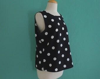 vintage 80's polka dot black & white tank top