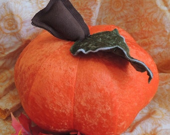 Large Bright Orange Velour Pumpkin With Green Velour Leaf and Brown Faux Suede Stem
