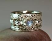 Rainbow Moonstone Wedding Set, Sterling Silver Moonstone Stacking Rings, Promise Ring, Fancy Bezel Setting