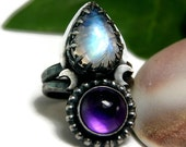 Moonstone Statement Ring, Sterling Silver Renaissance Jewelry, Amethyst Ring, Gothic Style Ring, Two Stone Ring
