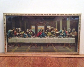 vintage 3D The Last Supper framed religious art print shadow box.  Shabby mid century Catholic wall art. Farmhouse, Cottage decor.