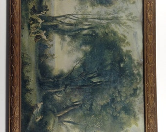 vintage A Morning. The Dance of the Nymphs. A print by Jean-Baptiste-Camille Corot in Carved Wood Frame.