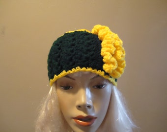 Green and gold ruffled headband