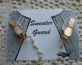 Sweater Clip  gold Tone With mother Of Pearl Clips And A Faux Pearl Chain
