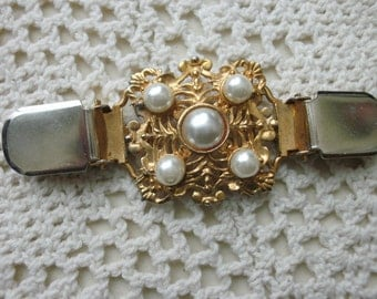 Jacket Clip  Large Ornate Metal Center With Five Faux Pearls