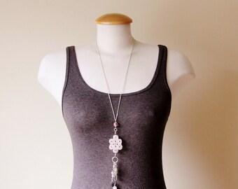 Rose Quartz necklace, charm necklace, long tassel necklace, boho necklace, romantic necklace, pink necklace, Valentine's necklace, bohemian