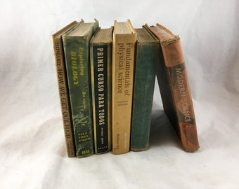 Vintage Text Book Collection. 6 Old Academic Books. 1930-1960s. Vintage Science Books, Biology Books, Business Book, Spanish Book. Old Books