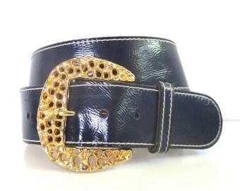 Vintage Handmade by Calderon Navy Belt // Size Medium