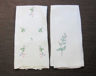Vintage linen and cotton Floral Embroidered guest towels