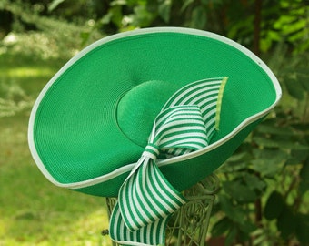 Green and White Straw Hat