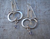 Delicate Hinged Infinity Forged Earrings with Faceted Kyanite