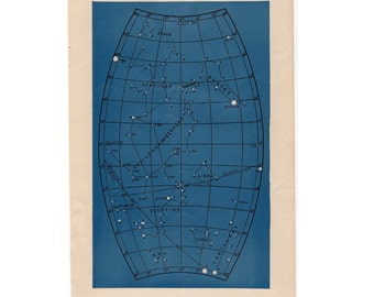 1946 astronomy star map original vintage celestial print - map 3