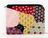 Small Zipper Pouch, Sleepy Black Cat Coin Purse, Neko Cat on Purple Quilt Bed