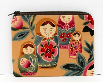 Russian Matryoshka Dolls, Small Zipper Pouch, Coin Purse