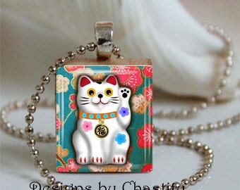 Lucky Cat Necklace Scrabble Charm Washi