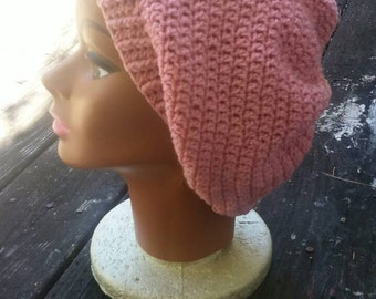 Pink slouchy beanie hat