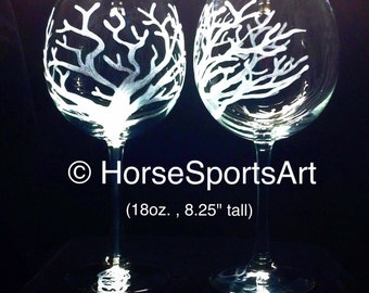 2 Oak Etched Wines (Choose Glass STYLE & SIZE) Hand Etched with Tree of Life, Oak Tree with or without Acorn; Bare Branches, Winter Tree