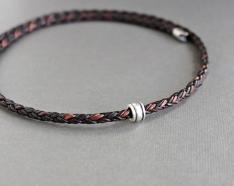 Mens Leather Braid Necklace, Single Silver Bead, Mens Brown Cord Necklace