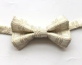Little Guy BOW TIE - Shimmering Holiday Collection -Gold and Ivory Circles - (3T-6 years) - Boy Toddler (Ready to Ship) - Spring Easter