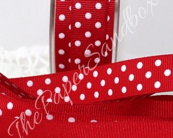"""Red & White Polka Dot Ribbon, 5/8"""" wide by the yard, Red Ribbon, Polka Dot Ribbon, Christmas, Gift Wrapping, Sewing, Gift Ribbon"""