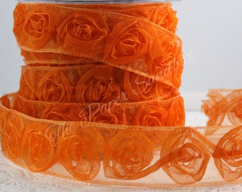"Orange Rosette Trim, Sheer Orange Ribbon, 1.5"" wide by the yard, Sewing, Gift Wrapping, Craft Ribbon, Party Supplies, Halloween Ribbon"