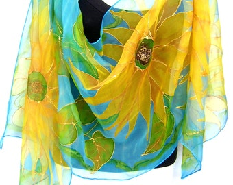 Hand Painted Silk Scarf, Sunflowers, Gold Yellow Turquoise May Green, Silk Chiffon Scarf, Gift For Her