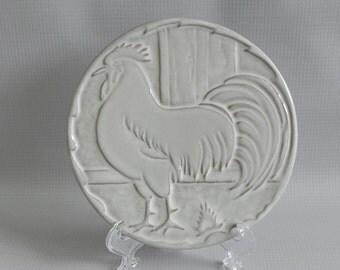Frankoma Rooster Chicken Trivet. White Sand Glaze. Mold Number 94TR. Signed Frankoma.
