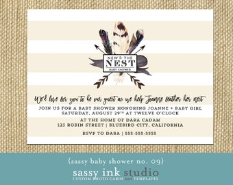 "Baby Shower Invitation - New to the Nest Baby Shower Invitation - Printable 5x7"" baby shower invite - baby shower (baby shower no. 09)"